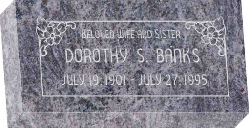 16 inch x 8 inch x 3 inch Flat Granite Headstone in Bahama Blue with design SD-104