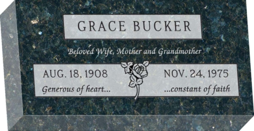 16 inch x 8 inch x 3 inch Flat Granite Headstone in Emerald Pearl with design F-109 Sanded Panel