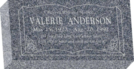 16 inch x 8 inch x 3 inch Flat Granite Headstone in Imperial Grey with design SD-106
