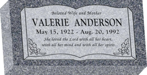16 inch x 8 inch x 3 inch Flat Granite Headstone in Imperial Grey with design SD-106 Sanded Panel