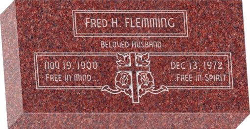 16 inch x 8 inch x 3 inch Flat Granite Headstone in Imperial Red with design F-111