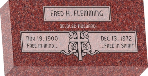 16 inch x 8 inch x 3 inch Flat Granite Headstone in Imperial Red with design F-111 Sanded Panel