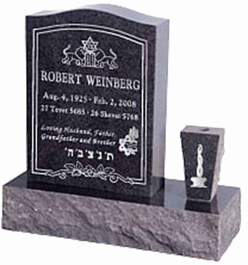 18 inch x 6 inch 24 inch Serp Top Headstone polished top front and back with 30 inch Base and square tapered vase in Imperial Black