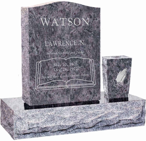 18 inch x 6 inch 24 inch Serp Top Headstone polished top front and back with 30 inch Base and square tapered vase in Bahama Blue with design R-23