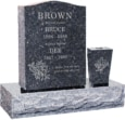 18 inch x 6 inch 24 inch Serp Top Headstone polished top front and back with 30 inch Base and square tapered vase in Blue Pearl with design S-6