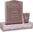 18 inch x 6 inch 24 inch Serp Top Headstone polished top front and back with 30 inch Base and square tapered vase in Desert Pink with design R-2
