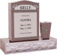 18 inch x 6 inch 24 inch Serp Top Headstone polished top front and back with 30 inch Base and square tapered vase in Desert Pink with design R-2 Sanded Panel