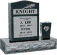 18 inch x 6 inch 24 inch Serp Top Headstone polished top front and back with 30 inch Base and square tapered vase in Emerald Pearl with design R-31 Sanded Panel