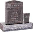 18 inch x 6 inch 24 inch Serp Top Headstone polished top front and back with 30 inch Base and square tapered vase in Himalayan with design R-24