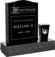 18 inch x 6 inch 24 inch Serp Top Headstone polished top front and back with 30 inch Base and square tapered vase in Imperial Grey with design R-26