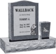 18 inch x 6 inch 24 inch Serp Top Headstone polished top front and back with 30 inch Base and square tapered vase in Imperial Grey with design R-32 Sanded Panel