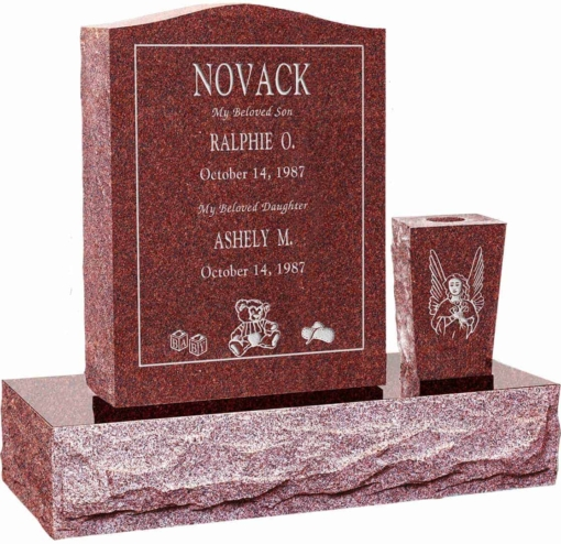 18 inch x 6 inch 24 inch Serp Top Headstone polished top front and back with 30 inch Base and square tapered vase in Imperial Red with design R-39