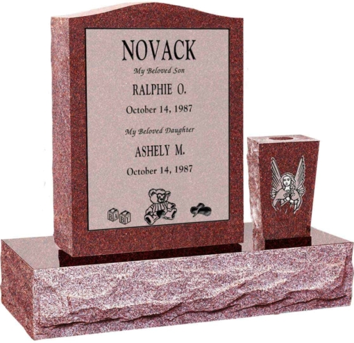 18 inch x 6 inch 24 inch Serp Top Headstone polished top front and back with 30 inch Base and square tapered vase in Imperial Red with design R-39 Sanded Panel