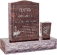 18 inch x 6 inch 24 inch Serp Top Headstone polished top front and back with 30 inch Base and square tapered vase in Mahogany with design R-10