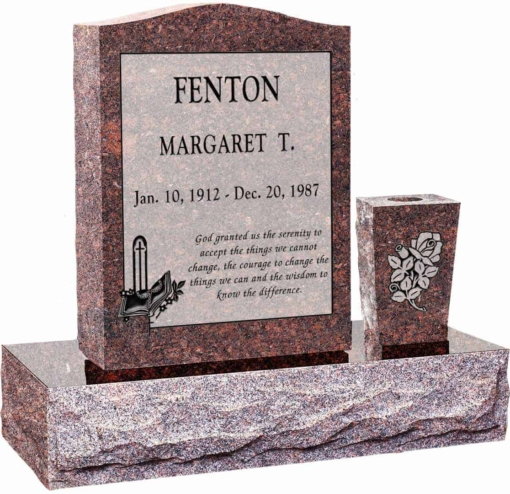 18 inch x 6 inch 24 inch Serp Top Headstone polished top front and back with 30 inch Base and square tapered vase in Mahogany with design R-10 Sanded Panel