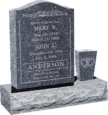 18 inch x 6 inch x 24 inch Serp Top Upright Headstone polished front and back with 30 inch Base and square tapered Vase in Blue Pearl with design B-2