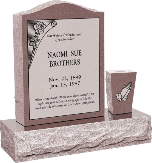 18 inch x 6 inch x 24 inch Serp Top Upright Headstone polished front and back with 30 inch Base and square tapered Vase in Desert Pink with design B-10 Sanded Panel