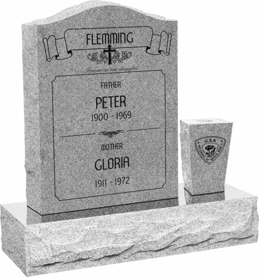 18 inch x 6 inch x 24 inch Serp Top Upright Headstone polished front and back with 30 inch Base and square tapered Vase in Grey with design AS-021