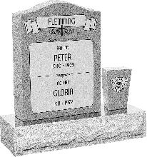 18 inch x 6 inch x 24 inch Serp Top Upright Headstone polished front and back with 30 inch Base and square tapered Vase in Grey with design AS-021 Sanded Panel