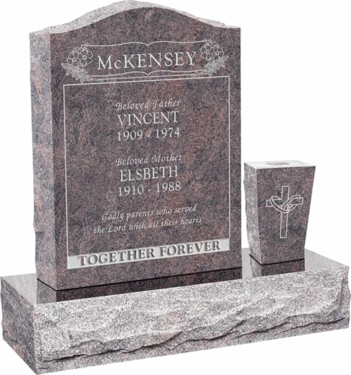 18 inch x 6 inch x 24 inch Serp Top Upright Headstone polished front and back with 30 inch Base and square tapered Vase in Himalayan with design B-19