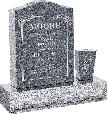 18 inch x 6 inch x 24 inch Serp Top Upright Headstone polished front and back with 30 inch Base and square tapered Vase in Imperial Grey with design B-21