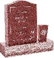 18 inch x 6 inch x 24 inch Serp Top Upright Headstone polished front and back with 30 inch Base and square tapered Vase in Imperial Red with design C-46