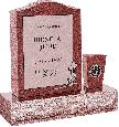 18 inch x 6 inch x 24 inch Serp Top Upright Headstone polished front and back with 30 inch Base and square tapered Vase in Imperial Red with design V-46 Sanded Panel