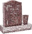 18 inch x 6 inch x 24 inch Serp Top Upright Headstone polished front and back with 30 inch Base and square tapered Vase in Mahogany with design F-106