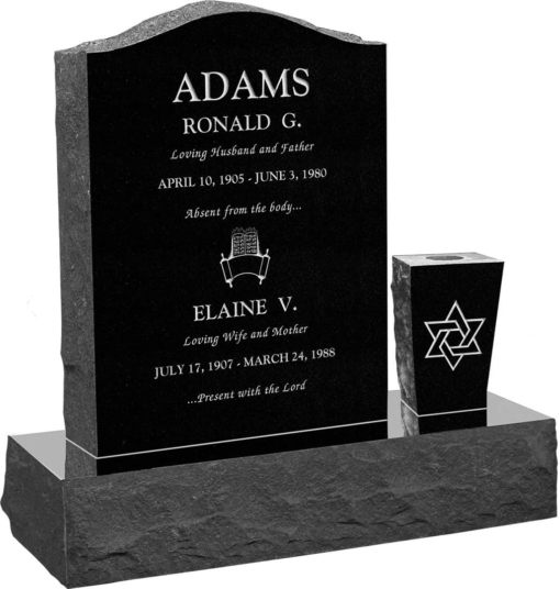 18 inch x 6 inch x 24 inch Serp Top Upright Headstone polished front and back with 30 inch Base and square tapered Vase in Imperial Black J-03
