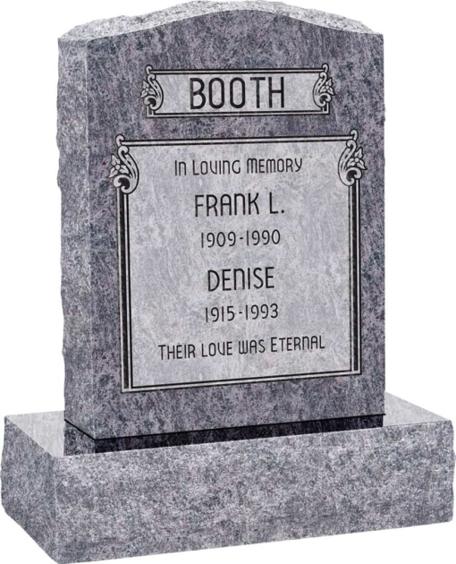 18inch x 6inch x 24inch Serp Top Upright Headstone polished front and back with 24inch Base in Bahama Blue Sanded Panel