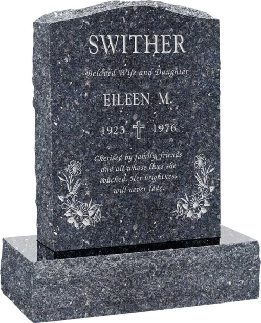 18 inch x 6 inch x 24 inch Serp Top Upright Headstone polished front and back with 24 inch Base in Blue Pearl