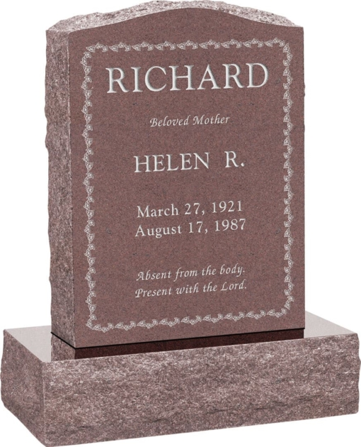 18 inch x 6 inch x 24 inch Serp Top Upright Headstone polished front and back with 24 inch Base in Desert Pink