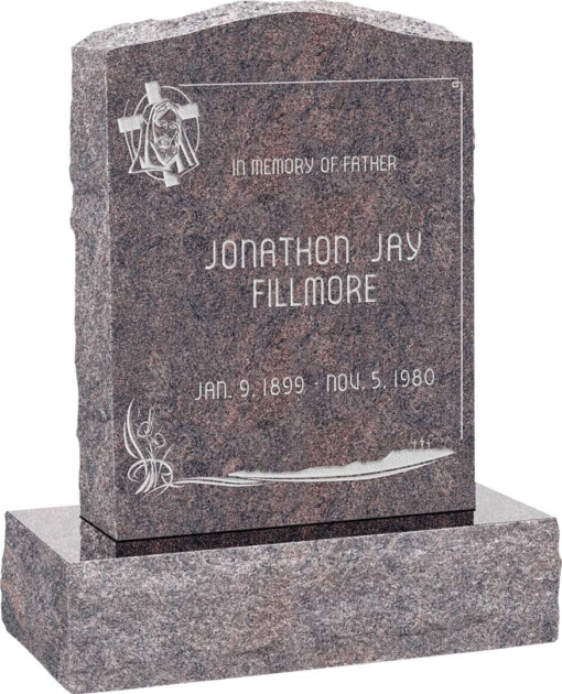 18 inch x 6 inch x 24 inch Serp Top Upright Headstone polished front and back with 24 inch Base in Himalayan with design AS-016