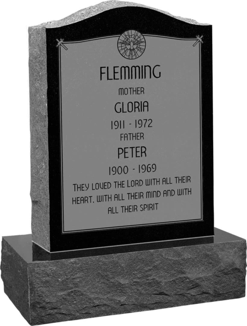 18inch x 6inch x 24inch Serp Top Upright Headstone polished front and back with 24inch Base in Imperial Black with design AS-020 Sanded Panel