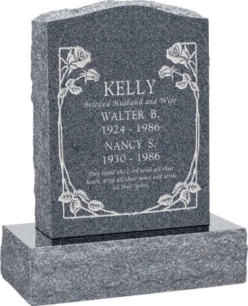 18 inch x 6 inch x 24 inch Serp Top Upright Headstone polished front and back with 24 inch Base in Imperial Grey with design B-1