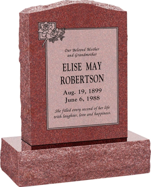 18 inch x 6 inch x 24 inch Serp Top Upright Headstone polished front and back with 24 inch Base in Imperial Red with design B-11