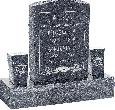 18inch x 6inch x 24inch Serp Top Upright Headstone polished front and back with 34inch Base and two square tapered Vases in Blue Pearl with design F-119