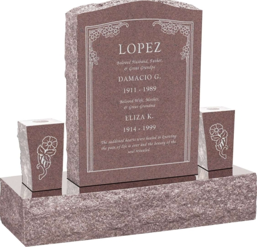 18inch x 6inch x 24inch Serp Top Upright Headstone polished front and back with 34inch Base and two square tapered Vases in Desert Pink with design HL-102