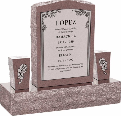 18inch x 6inch x 24inch Serp Top Upright Headstone polished front and back with 34inch Base and two square tapered Vases in Desert Pink with design HL-102 Sanded Panel