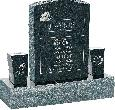 18inch x 6inch x 24inch Serp Top Upright Headstone polished front and back with 34inch Base and two square tapered Vases in Emerald Pearl with design R-4