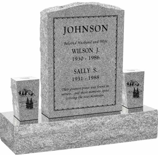 18inch x 6inch x 24inch Serp Top Upright Headstone polished front and back with 34inch Base and two square tapered Vases in Grey with design B-3