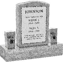 """Serp Top Upright Headstone polished front and back with 34"""" Base and two square tapered Vases"""
