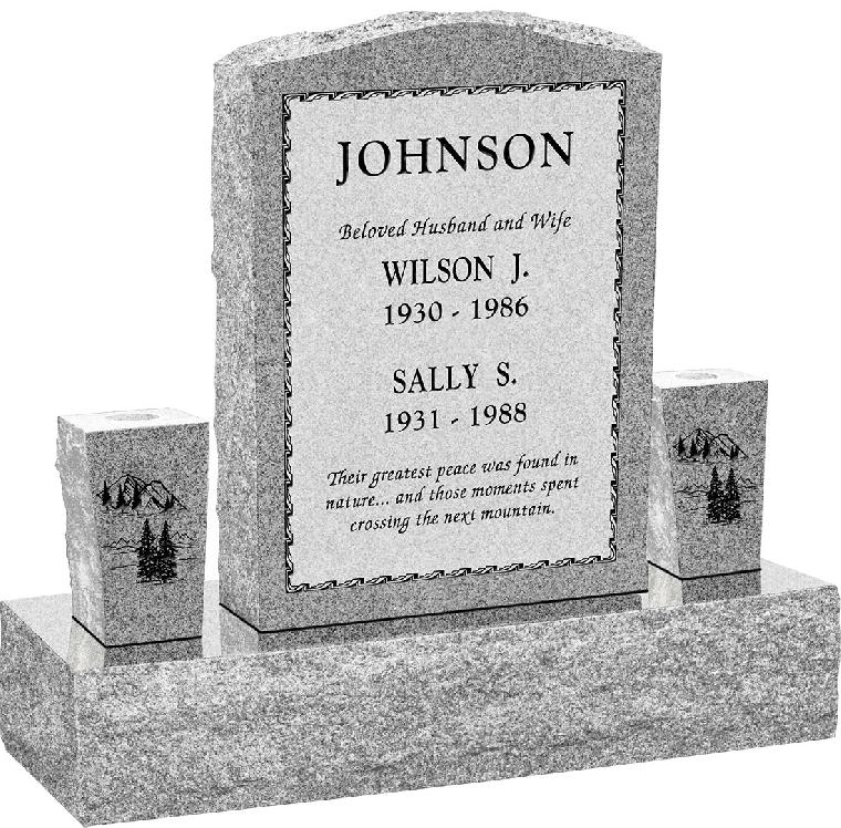 "Serp Top Upright Headstone polished front and back with 34"" Base and two square tapered Vases"