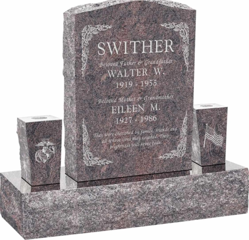 18inch x 6inch x 24inch Serp Top Upright Headstone polished front and back with 34inch Base and two square tapered Vases in Himalayan with design B-6