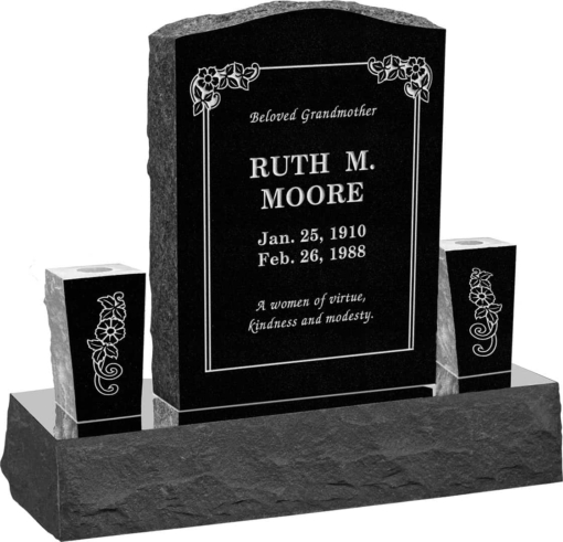 18inch x 6inch x 24inch Serp Top Upright Headstone polished front and back with 34inch Base and two square tapered Vases in Imperial Black with design B-21