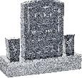 18inch x 6inch x 24inch Serp Top Upright Headstone polished front and back with 34inch Base and two square tapered Vases in Imperial Grey with design C-21