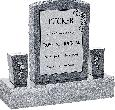 18inch_x_6inch_x_24inch_Serp_Top_Upright_Headstone_polished_front_and_back_with_34inch_Base_and_two_square_tapered_Vases_in_Imperial_Grey_with_design_C-21_Sanded_Panel