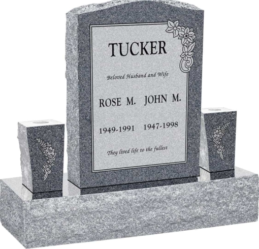 18inch x 6inch x 24inch Serp Top Upright Headstone polished front and back with 34inch Base and two square tapered Vases in Imperial Grey with design C-21 Sanded Panel