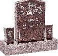 18inch_x_6inch_x_24inch_Serp_Top_Upright_Headstone_polished_front_and_back_with_34inch_Base_and_two_square_tapered_Vases_in_Mahogany_with_design_AS-024
