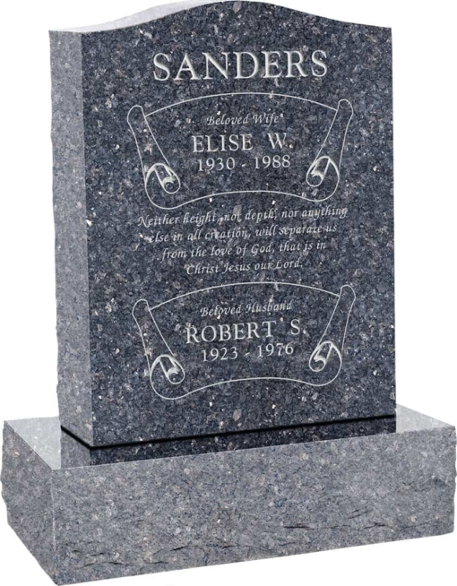 18inch x 6inch x 24inch Serp Top Upright Headstone polished top, front and back with 24inch Base in Blue Pearl with design B-7